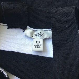 Cache Tops - Caché Black white stripe sleeveless sweater